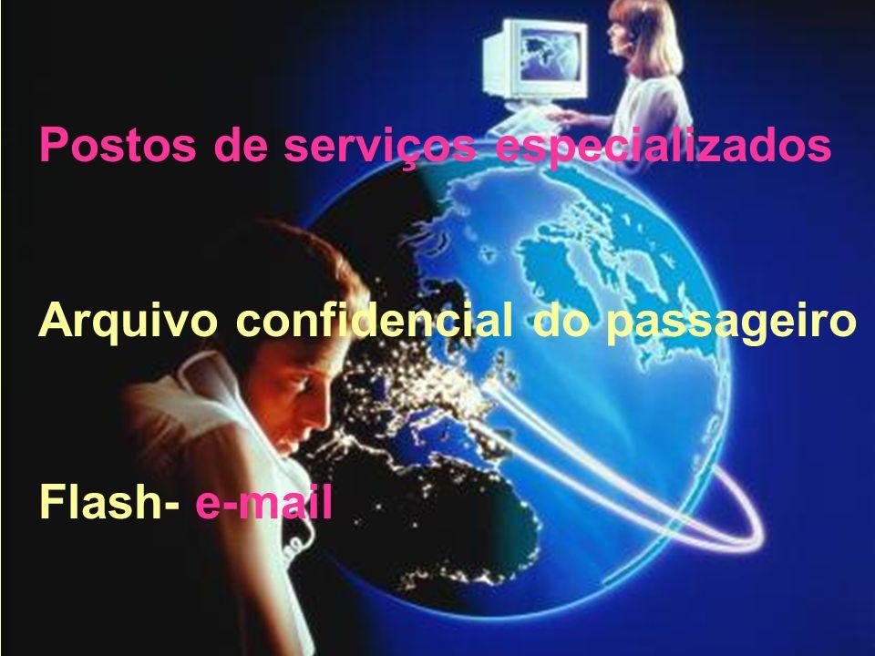 Postos de serviços especializados Arquivo confidencial do passageiro Flash- e-mail