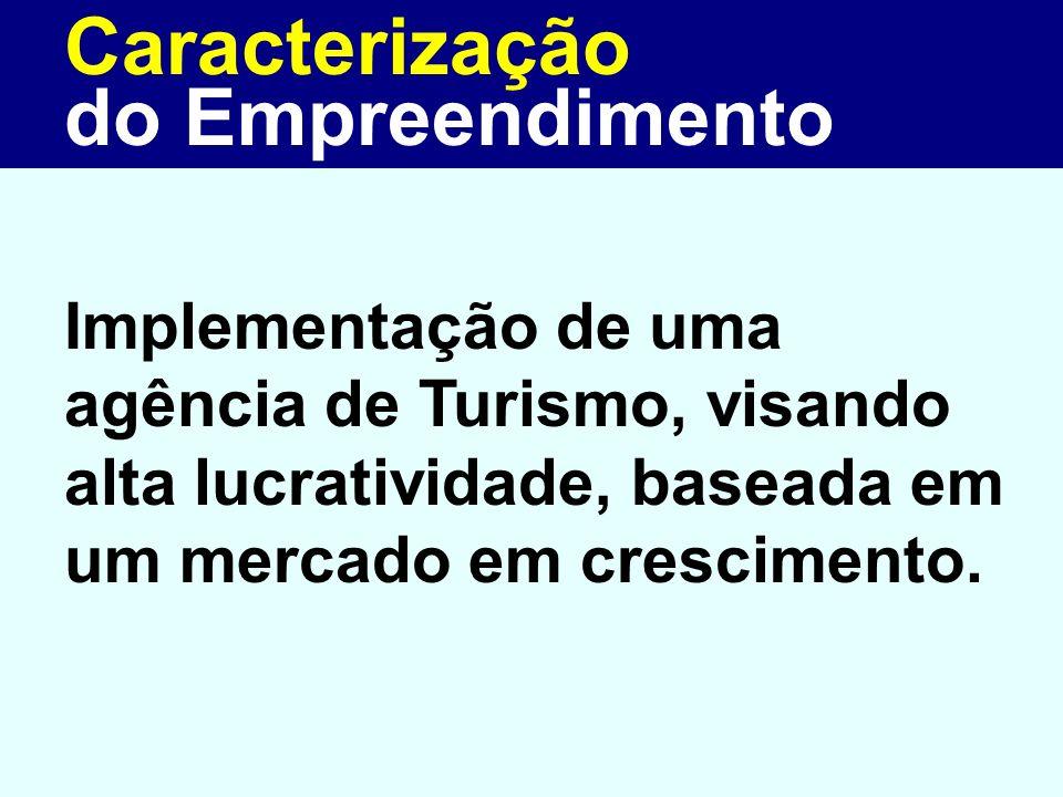 Caracterização Implementação de uma agência de Turismo, visando alta lucratividade, baseada em um mercado em crescimento. do Empreendimento