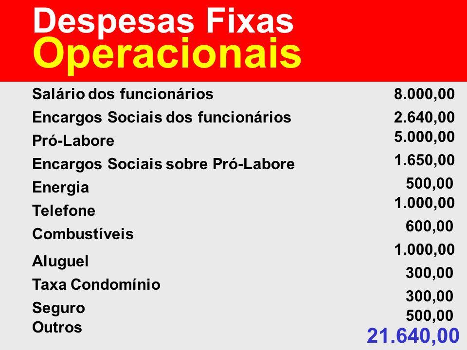 Despesas Fixas Operacionais Salário dos funcionários Encargos Sociais dos funcionários Pró-Labore Encargos Sociais sobre Pró-Labore Energia Telefone C