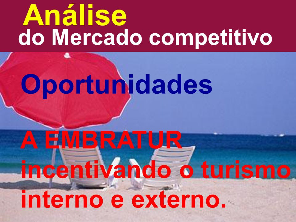 Análise do Mercado competitivo Oportunidades A EMBRATUR incentivando o turismo interno e externo.