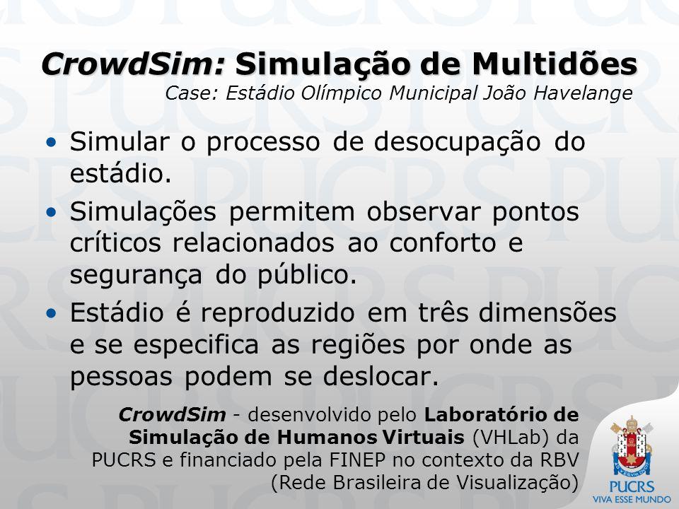 CrowdSim: Simulação de Multidões Define-se o comportamento dos indivíduos durante a simulação (levantar da cadeira, caminhar pela arquibancada, percorrer as rampas de acesso e deixar o estádio).