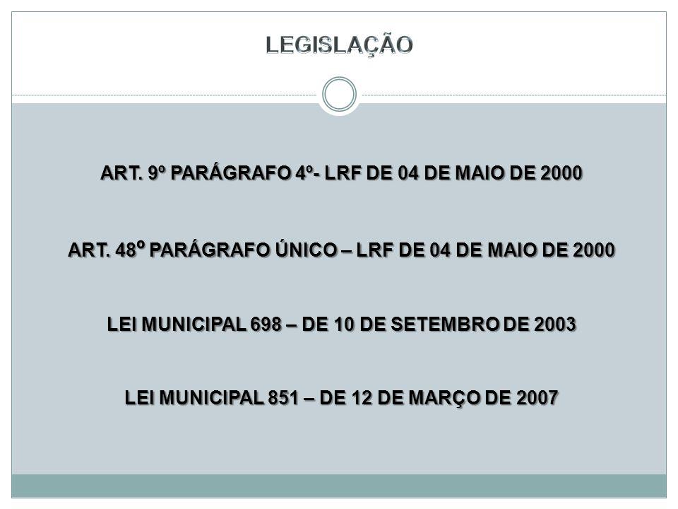 ART.9º PARÁGRAFO 4º- LRF DE 04 DE MAIO DE 2000 ART.