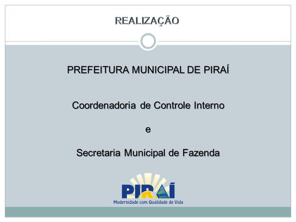 PREFEITURA MUNICIPAL DE PIRAÍ Coordenadoria de Controle Interno e Secretaria Municipal de Fazenda