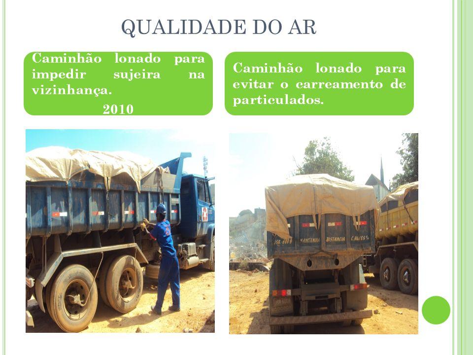 QUALIDADE DO AR Caminhão lonado para impedir sujeira na vizinhança. 2010 Caminhão lonado para evitar o carreamento de particulados.