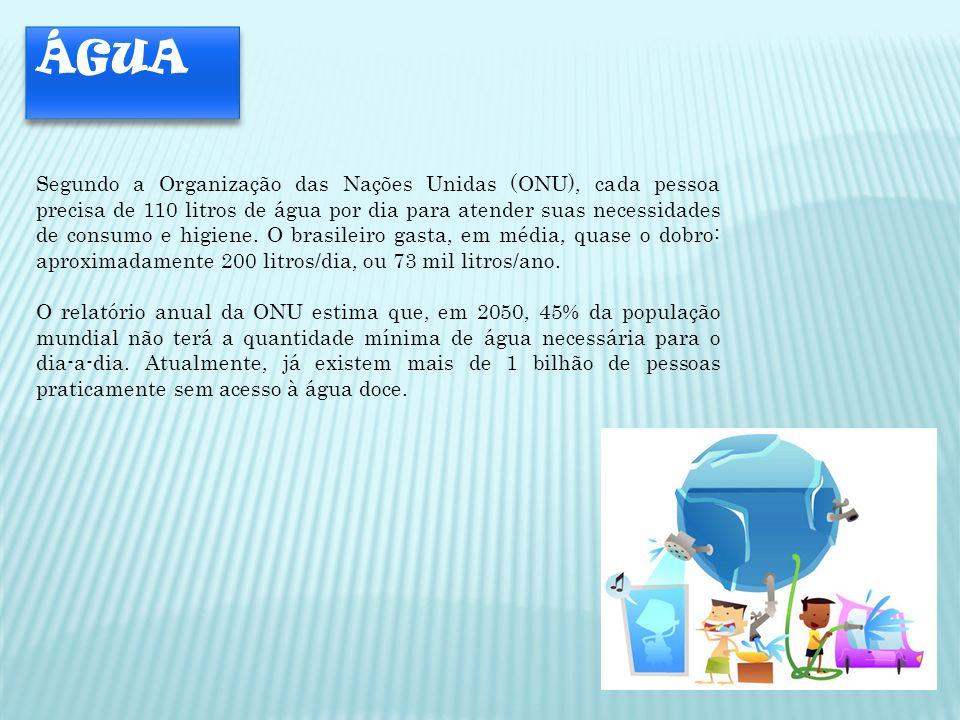 ÁGUA Segundo a Organização das Nações Unidas (ONU), cada pessoa precisa de 110 litros de água por dia para atender suas necessidades de consumo e higi