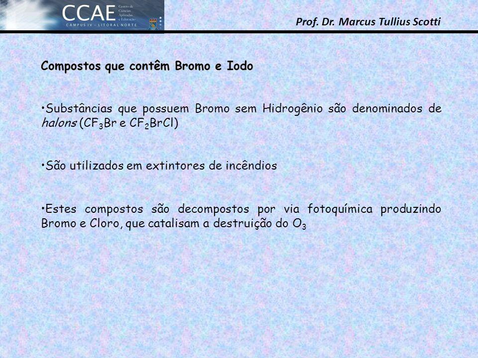 Prof. Dr. Marcus Tullius Scotti Compostos que contêm Bromo e Iodo Substâncias que possuem Bromo sem Hidrogênio são denominados de halons (CF 3 Br e CF