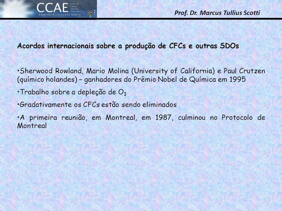 Prof. Dr. Marcus Tullius Scotti Acordos internacionais sobre a produção de CFCs e outras SDOs Sherwood Rowland, Mario Molina (University of California