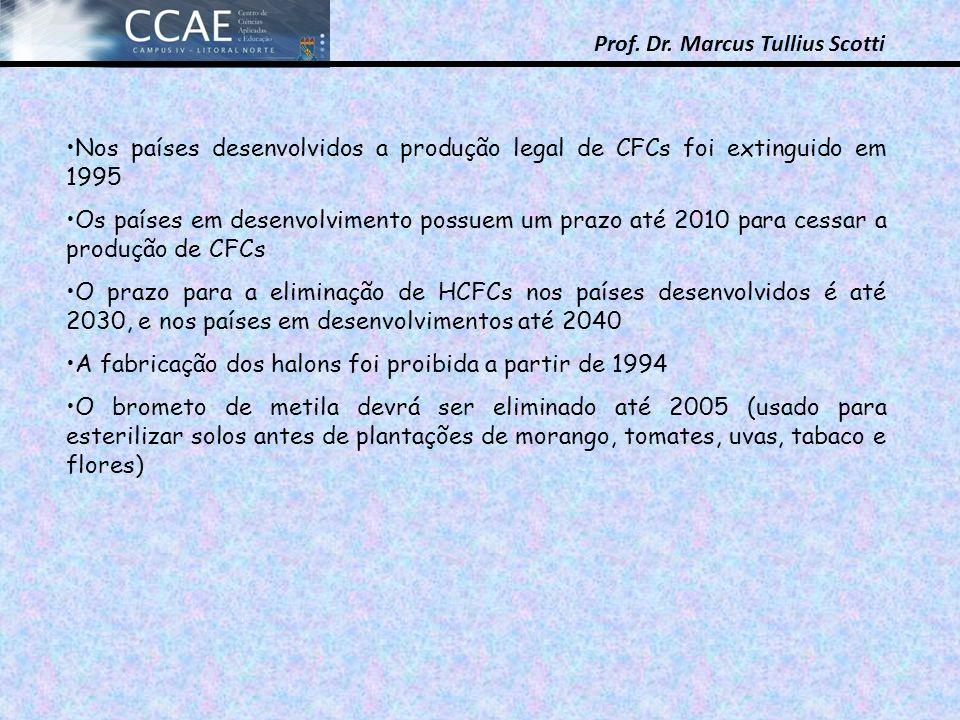 Prof. Dr. Marcus Tullius Scotti Nos países desenvolvidos a produção legal de CFCs foi extinguido em 1995 Os países em desenvolvimento possuem um prazo