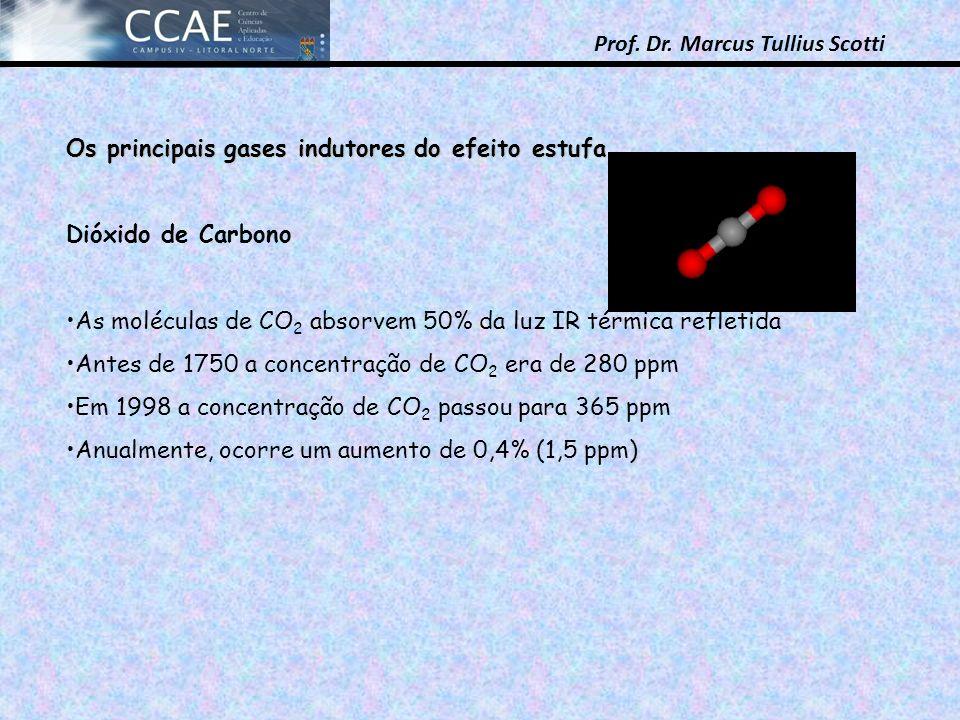 Prof. Dr. Marcus Tullius Scotti Os principais gases indutores do efeito estufa Dióxido de Carbono As moléculas de CO 2 absorvem 50% da luz IR térmica