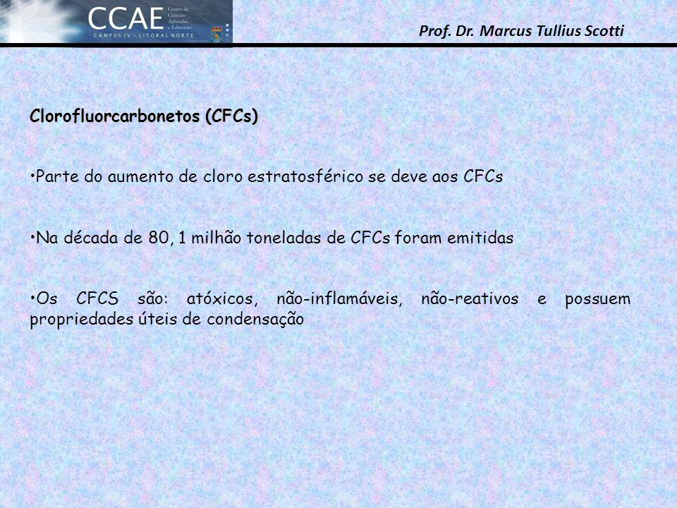 Prof. Dr. Marcus Tullius Scotti Clorofluorcarbonetos (CFCs) Parte do aumento de cloro estratosférico se deve aos CFCs Na década de 80, 1 milhão tonela