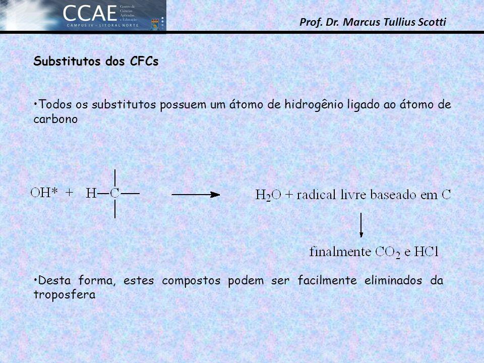 Prof. Dr. Marcus Tullius Scotti Substitutos dos CFCs Todos os substitutos possuem um átomo de hidrogênio ligado ao átomo de carbono Desta forma, estes