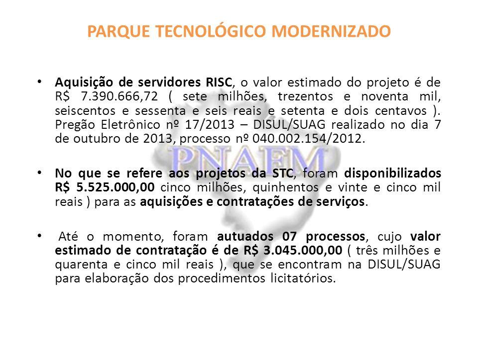 PARQUE TECNOLÓGICO MODERNIZADO Aquisição de servidores RISC, o valor estimado do projeto é de R$ 7.390.666,72 ( sete milhões, trezentos e noventa mil, seiscentos e sessenta e seis reais e setenta e dois centavos ).