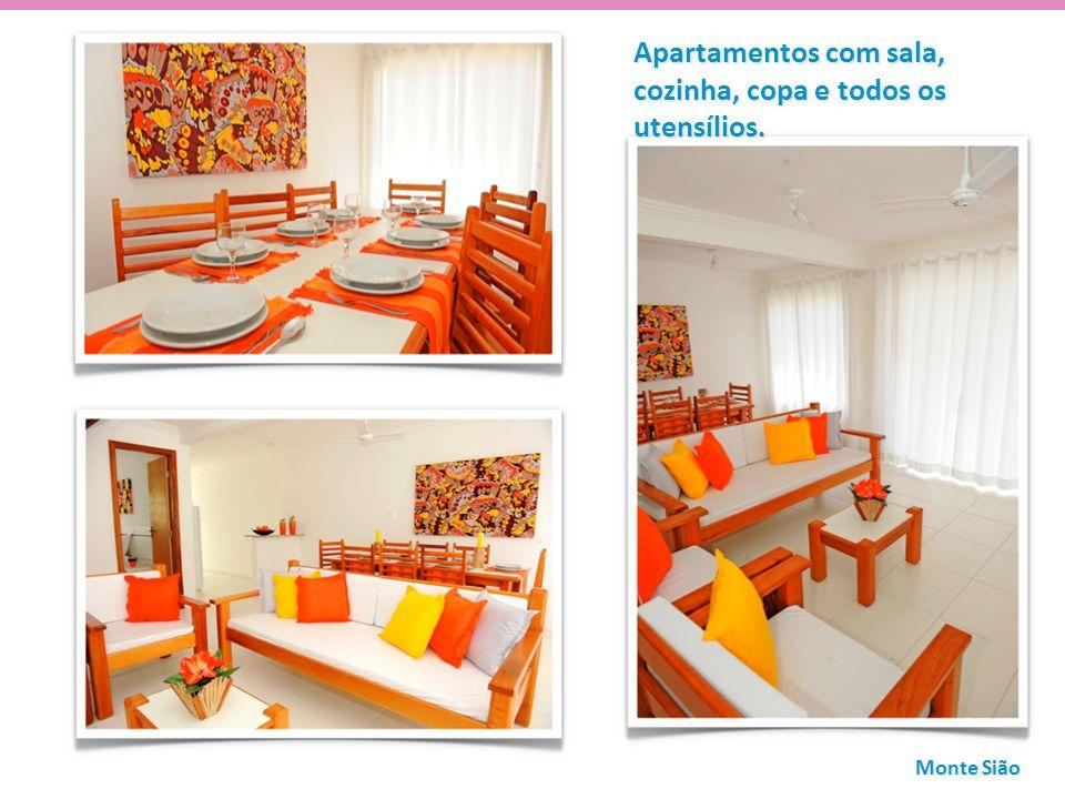 Apartamentos com sala, cozinha, copa e todos os utensílios. Monte Sião