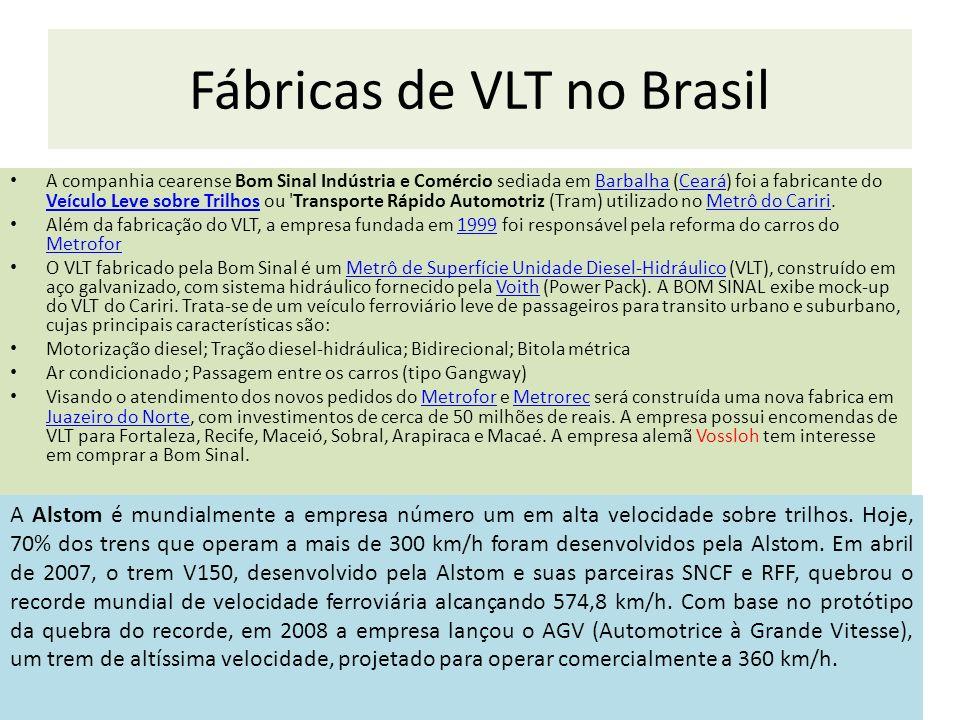 Fábricas de VLT no Brasil A companhia cearense Bom Sinal Indústria e Comércio sediada em Barbalha (Ceará) foi a fabricante do Veículo Leve sobre Trilh