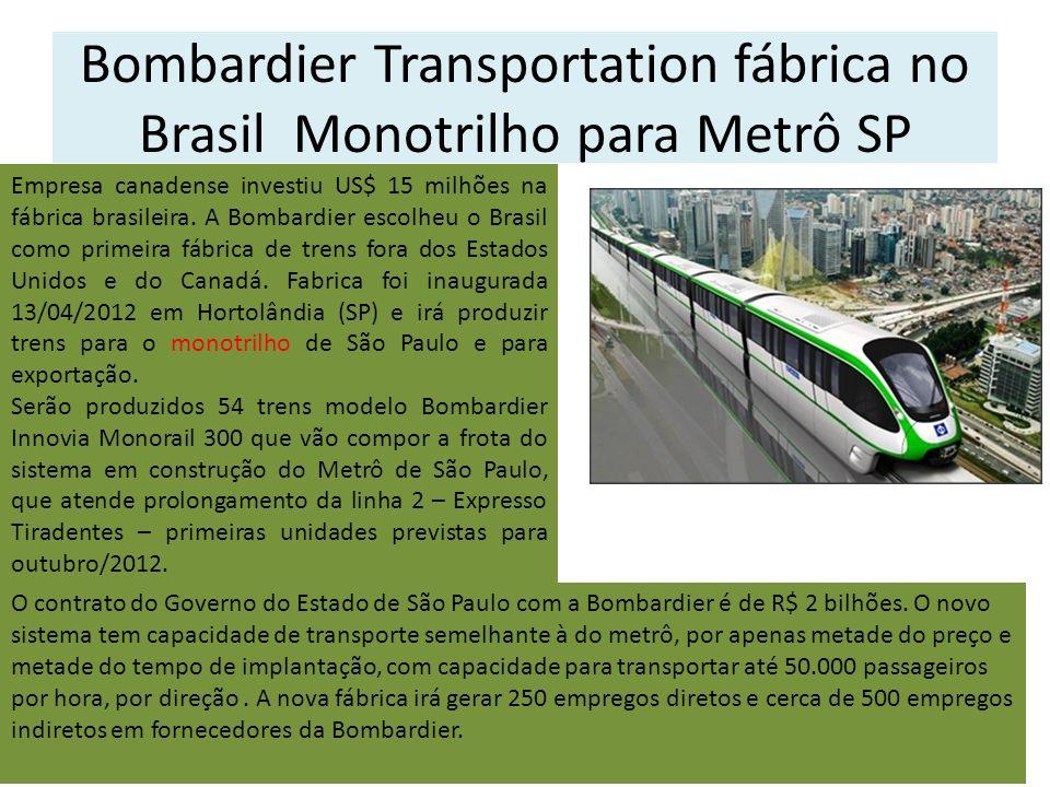 Bombardier Transportation fábrica no Brasil Monotrilho para Metrô SP Empresa canadense investiu US$ 15 milhões na fábrica brasileira. A Bombardier esc