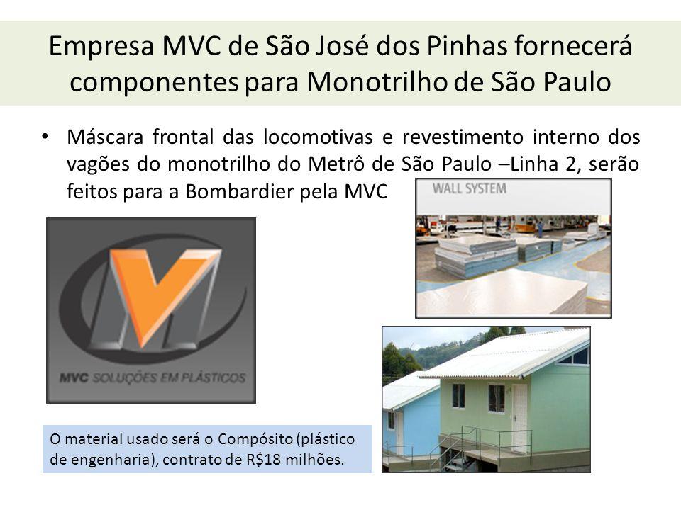 Empresa MVC de São José dos Pinhas fornecerá componentes para Monotrilho de São Paulo Máscara frontal das locomotivas e revestimento interno dos vagõe