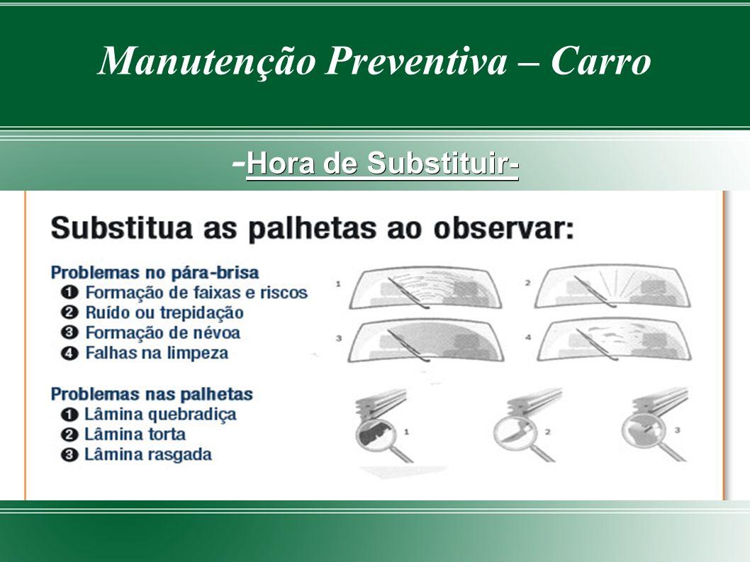 Manutenção Preventiva - Carro PALHETAS DO PARÀ-BRISA As Palhetas é um dispositivo de fundamental importância e em alguns casos devido a falta ou pouca