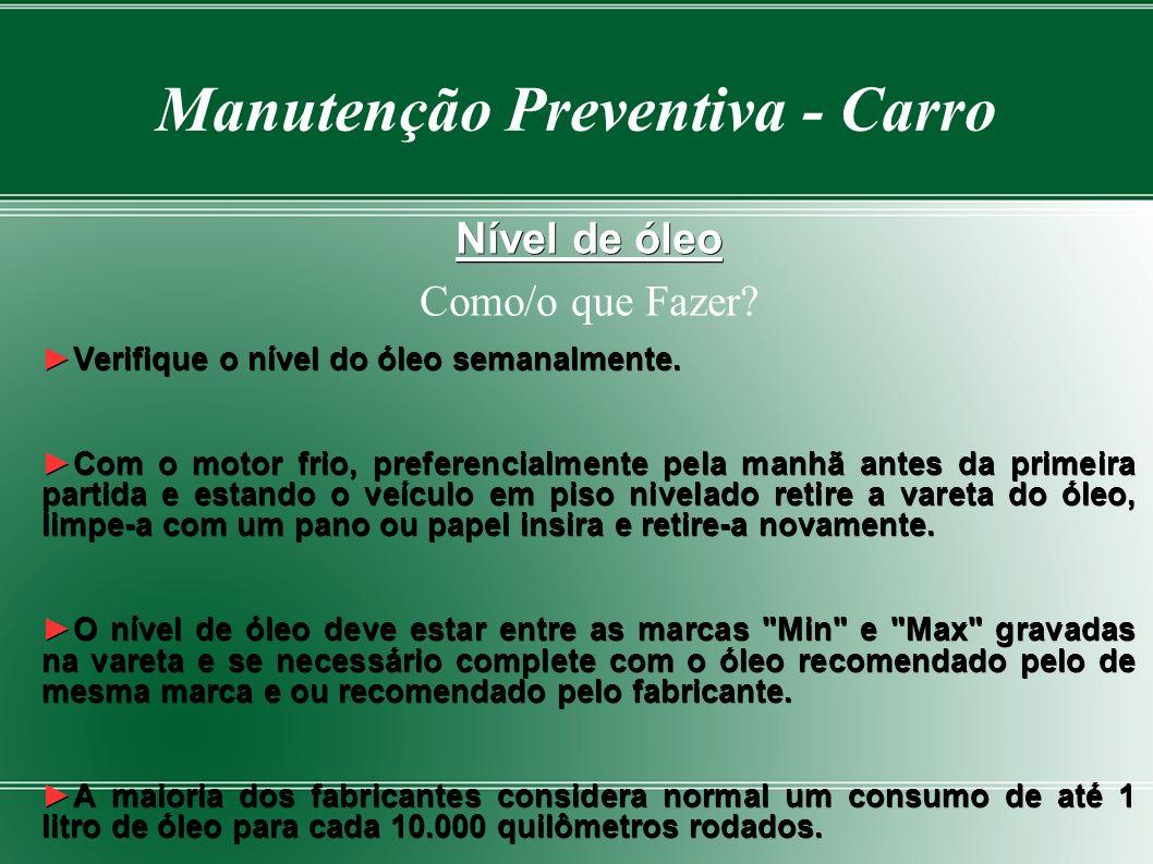 Manutenção Preventiva - Carro Nível de óleo Como/o que Fazer.
