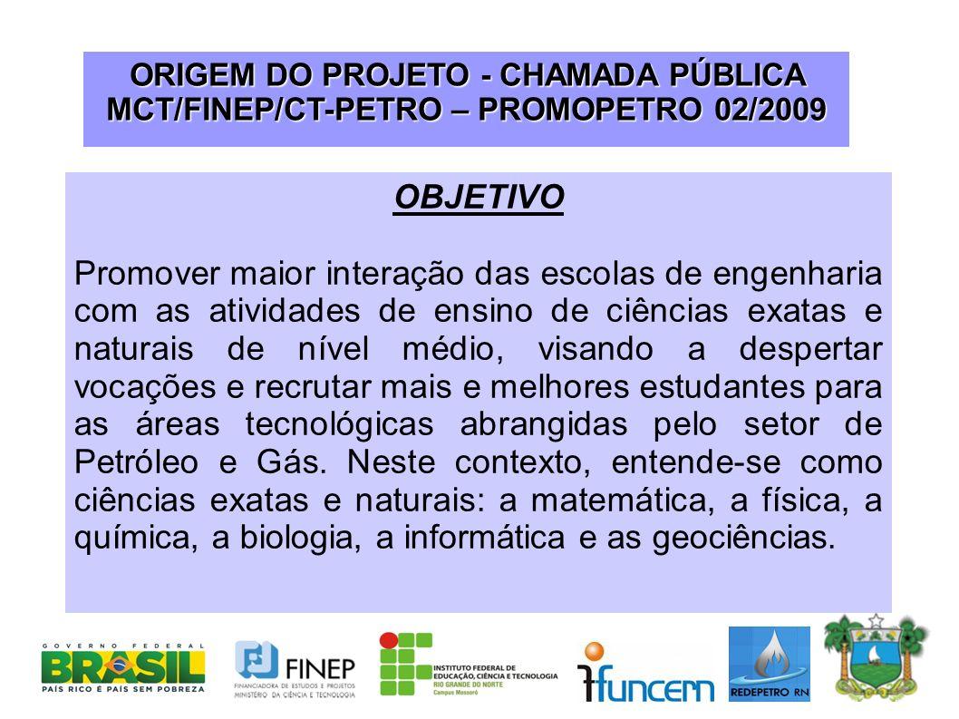 ORIGEM DO PROJETO - CHAMADA PÚBLICA MCT/FINEP/CT-PETRO – PROMOPETRO 02/2009 OBJETIVO Promover maior interação das escolas de engenharia com as ativida