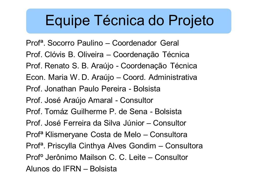 Equipe Técnica do Projeto Profª. Socorro Paulino – Coordenador Geral Prof. Clóvis B. Oliveira – Coordenação Técnica Prof. Renato S. B. Araújo - Coorde
