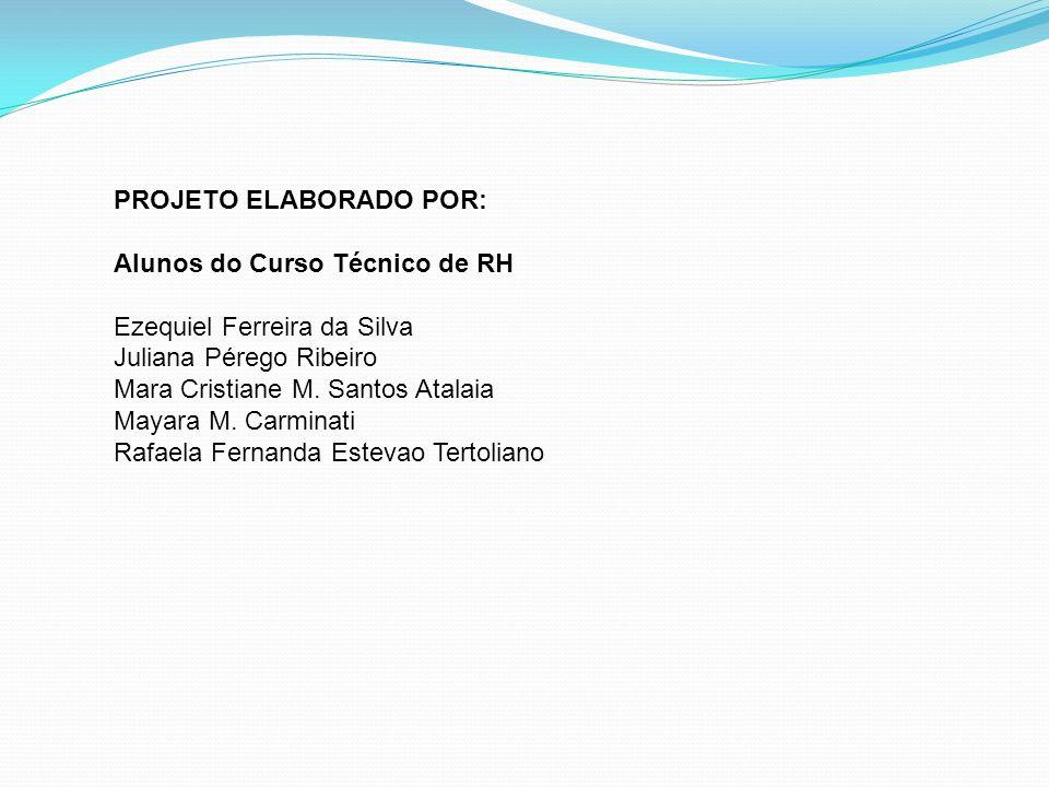 PROJETO ELABORADO POR: Alunos do Curso Técnico de RH Ezequiel Ferreira da Silva Juliana Pérego Ribeiro Mara Cristiane M.