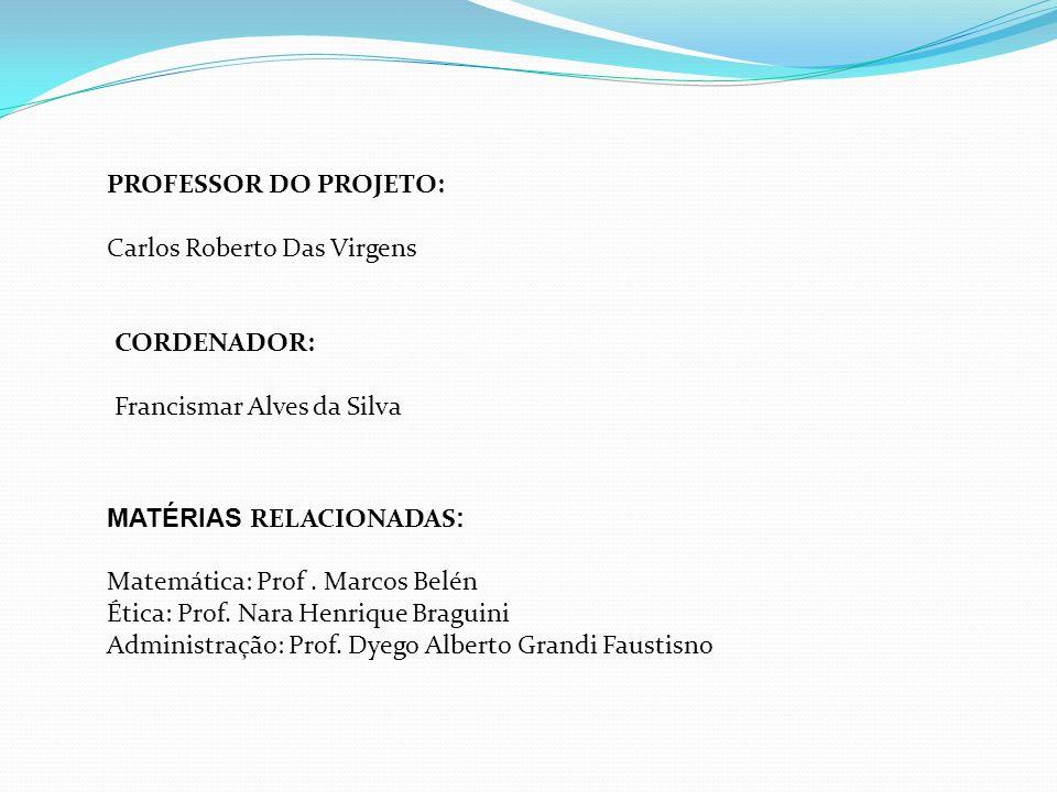 PROFESSOR DO PROJETO: Carlos Roberto Das Virgens MATÉRIAS RELACIONADAS : Matemática: Prof.