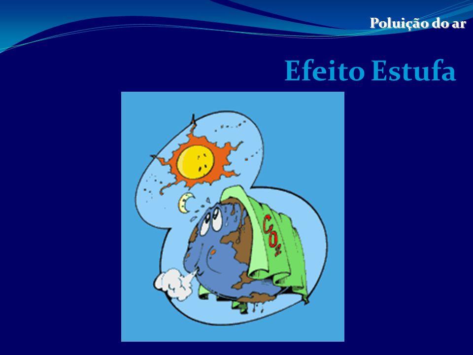 Definição de Efeito Estufa Poluição do ar O efeito estufa é um processo que faz com que a temperatura da Terra seja maior do que a que seria na ausência de atmosfera.