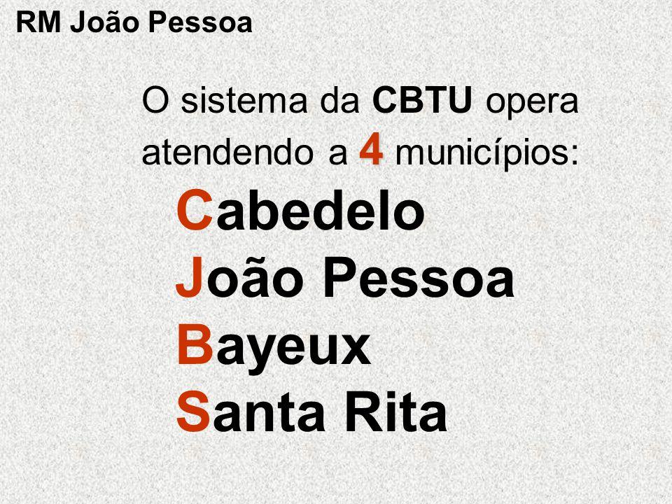 4 O sistema da CBTU opera atendendo a 4 municípios: Cabedelo João Pessoa Bayeux Santa Rita RM João Pessoa