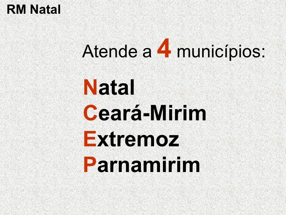 Atende a 4 municípios: Natal Ceará-Mirim Extremoz Parnamirim RM Natal