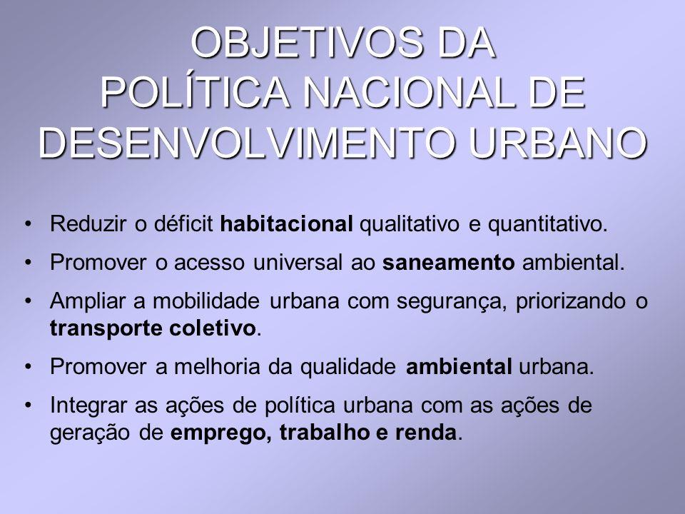 OBJETIVOS DA POLÍTICA NACIONAL DE DESENVOLVIMENTO URBANO Reduzir o déficit habitacional qualitativo e quantitativo. Promover o acesso universal ao san