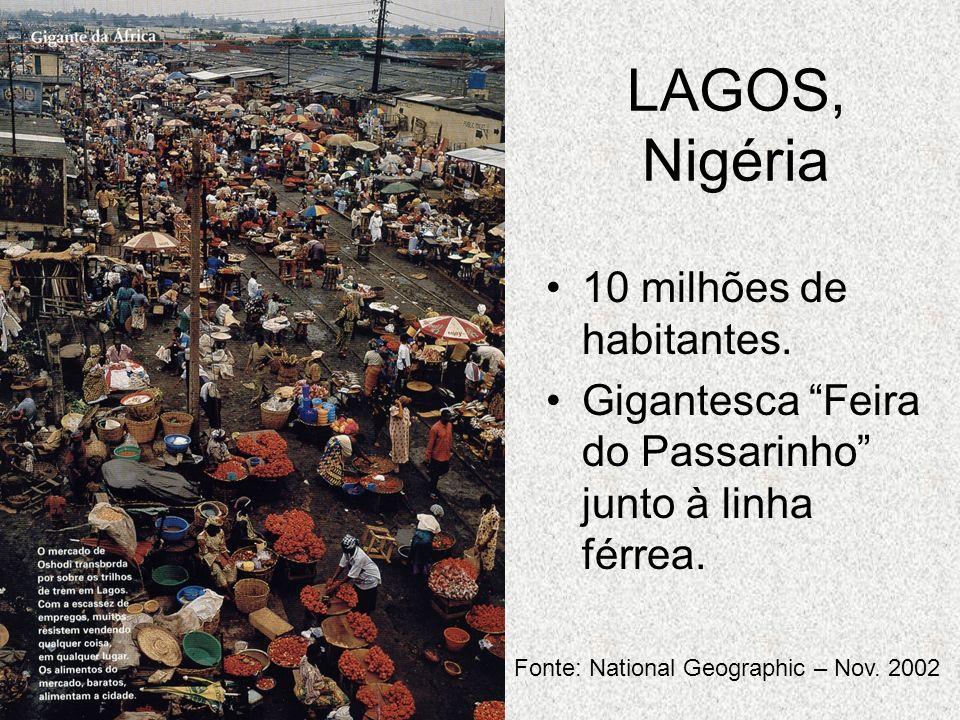 LAGOS, Nigéria 10 milhões de habitantes. Gigantesca Feira do Passarinho junto à linha férrea. Fonte: National Geographic – Nov. 2002