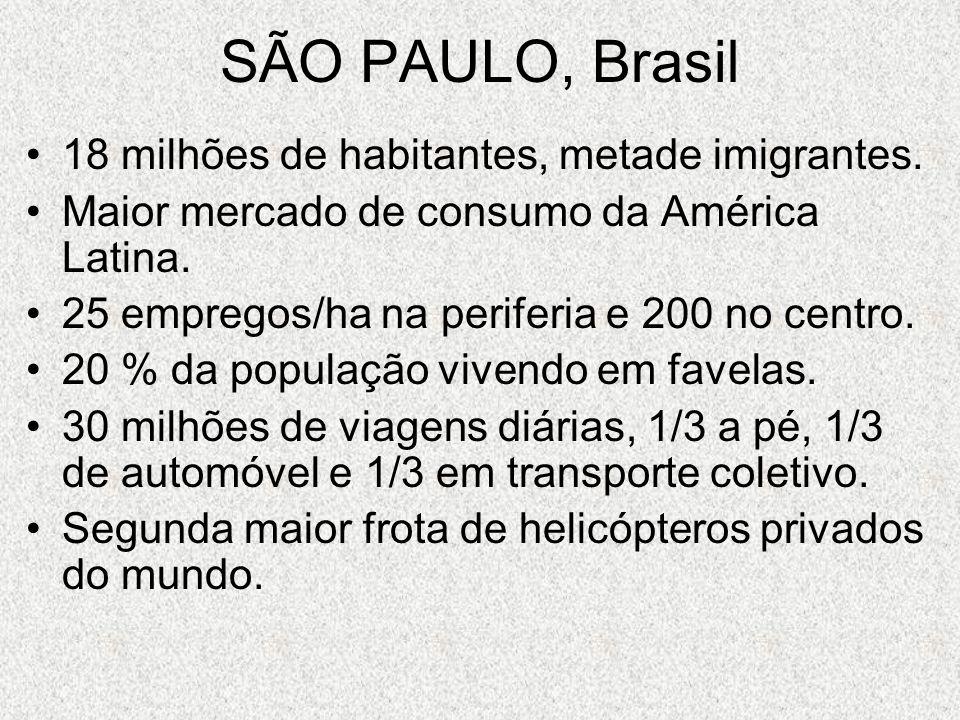 SÃO PAULO, Brasil 18 milhões de habitantes, metade imigrantes. Maior mercado de consumo da América Latina. 25 empregos/ha na periferia e 200 no centro