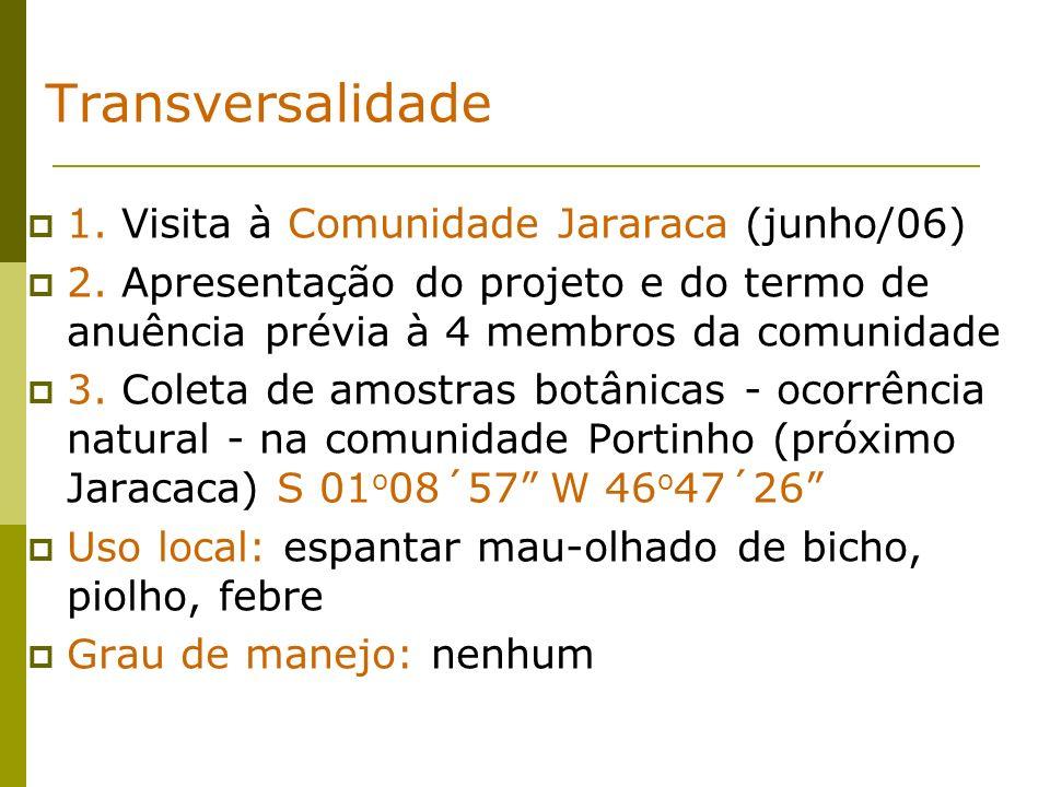 Transversalidade 1. Visita à Comunidade Jararaca (junho/06) 2. Apresentação do projeto e do termo de anuência prévia à 4 membros da comunidade 3. Cole