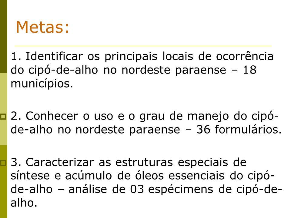 1. Identificar os principais locais de ocorrência do cipó-de-alho no nordeste paraense – 18 municípios. 2. Conhecer o uso e o grau de manejo do cipó-