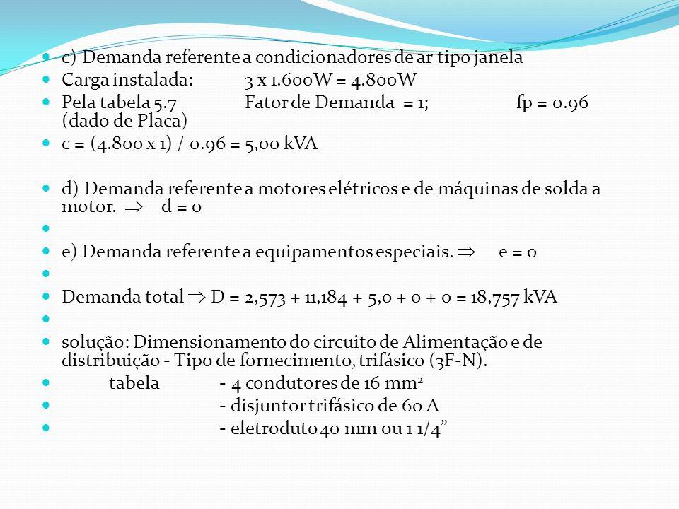 c) Demanda referente a condicionadores de ar tipo janela Carga instalada:3 x 1.600W = 4.800W Pela tabela 5.7Fator de Demanda = 1;fp = 0.96 (dado de Pl
