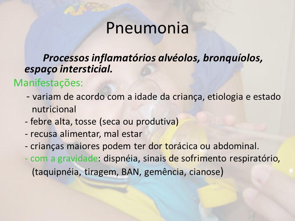 Pneumonia Processos inflamatórios alvéolos, bronquíolos, espaço intersticial. Manifestações: - variam de acordo com a idade da criança, etiologia e es