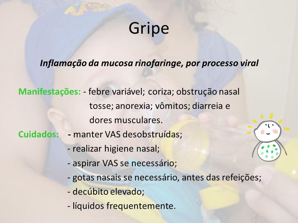 Gripe Inflamação da mucosa rinofaringe, por processo viral Manifestações: - febre variável; coriza; obstrução nasal tosse; anorexia; vômitos; diarreia