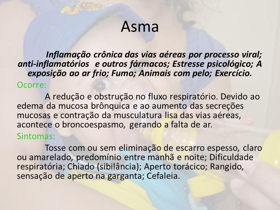 Asma Inflamação crônica das vias aéreas por processo viral; anti-inflamatórios e outros fármacos; Estresse psicológico; A exposição ao ar frio; Fumo;