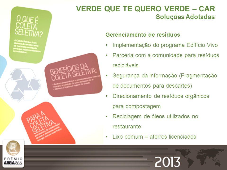 VERDE QUE TE QUERO VERDE – CAR Soluções Adotadas Gerenciamento de resíduos Implementação do programa Edifício Vivo Parceria com a comunidade para resí