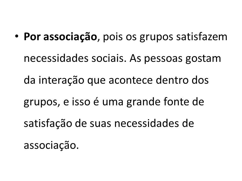 Por associação, pois os grupos satisfazem necessidades sociais. As pessoas gostam da interação que acontece dentro dos grupos, e isso é uma grande fon