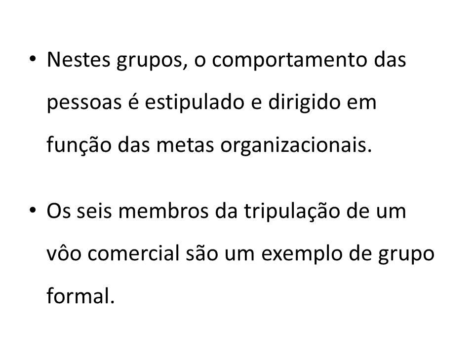 Nestes grupos, o comportamento das pessoas é estipulado e dirigido em função das metas organizacionais. Os seis membros da tripulação de um vôo comerc