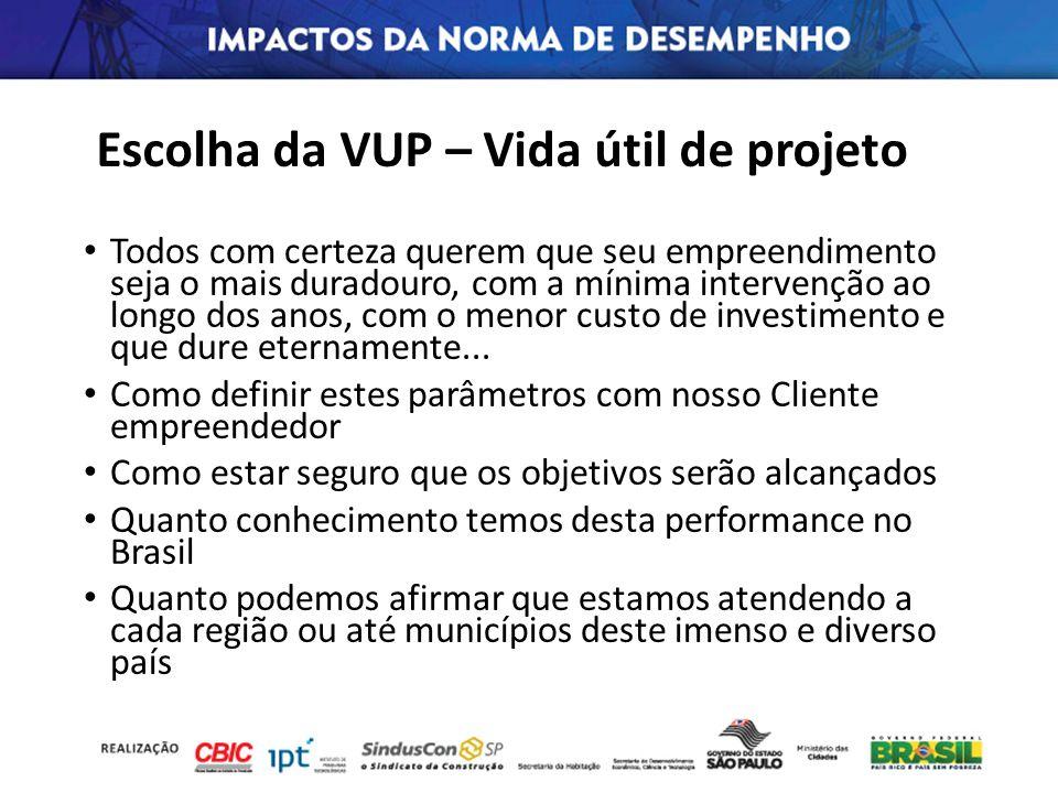 Escolha da VUP – Vida útil de projeto Todos com certeza querem que seu empreendimento seja o mais duradouro, com a mínima intervenção ao longo dos ano