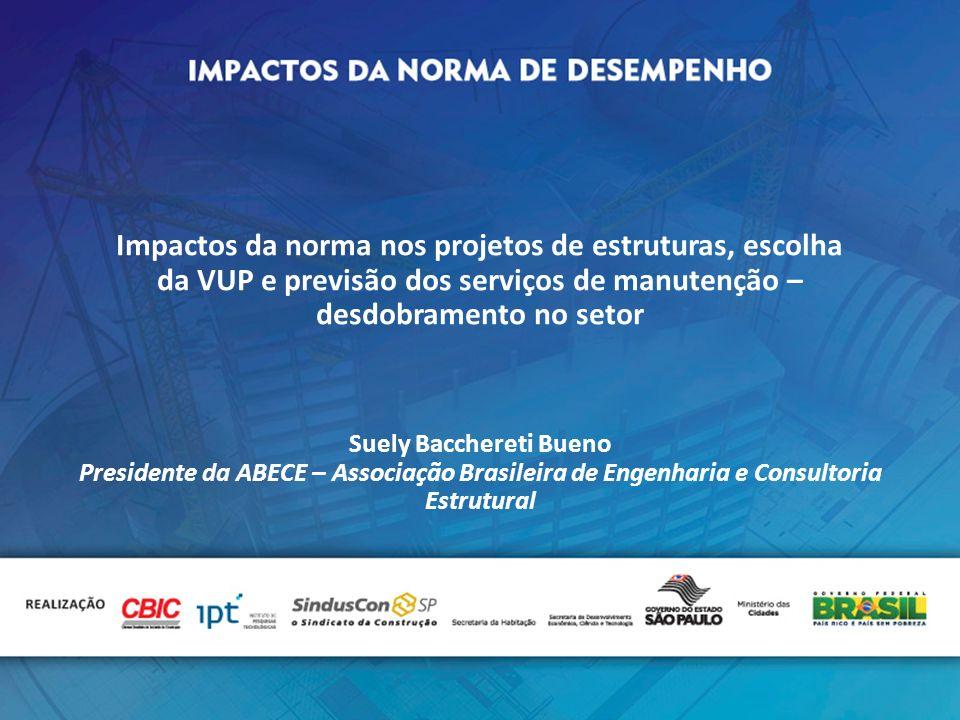 Impactos da norma nos projetos de estruturas, escolha da VUP e previsão dos serviços de manutenção – desdobramento no setor Suely Bacchereti Bueno Pre
