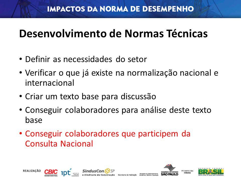 Desenvolvimento de Normas Técnicas Definir as necessidades do setor Verificar o que já existe na normalização nacional e internacional Criar um texto