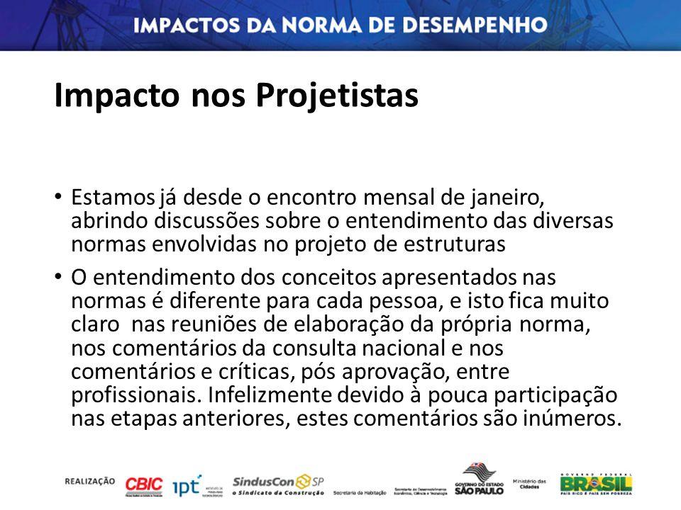Impacto nos Projetistas Estamos já desde o encontro mensal de janeiro, abrindo discussões sobre o entendimento das diversas normas envolvidas no proje