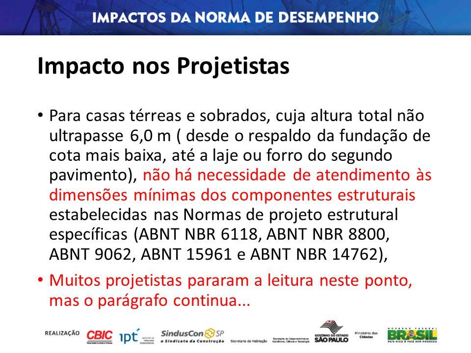 Impacto nos Projetistas Para casas térreas e sobrados, cuja altura total não ultrapasse 6,0 m ( desde o respaldo da fundação de cota mais baixa, até a
