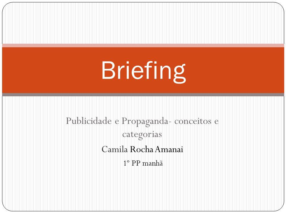 Publicidade e Propaganda- conceitos e categorias Camila Rocha Amanai 1º PP manhã Briefing