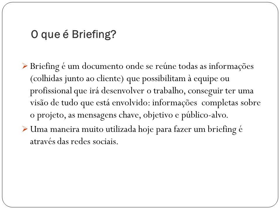 O que é Briefing? Briefing é um documento onde se reúne todas as informações (colhidas junto ao cliente) que possibilitam à equipe ou profissional que