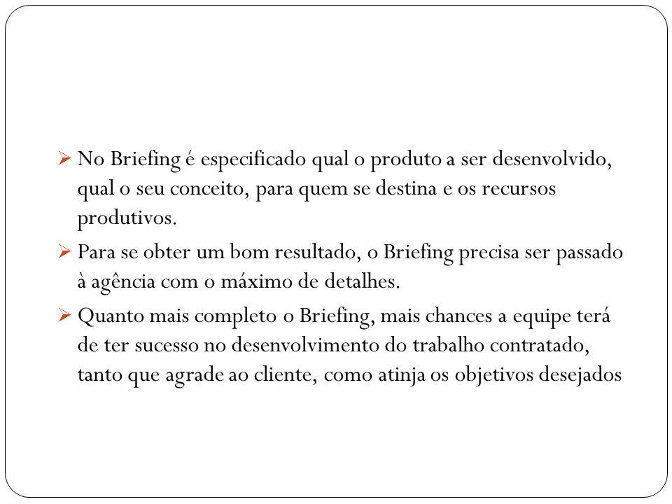 No Briefing é especificado qual o produto a ser desenvolvido, qual o seu conceito, para quem se destina e os recursos produtivos. Para se obter um bom