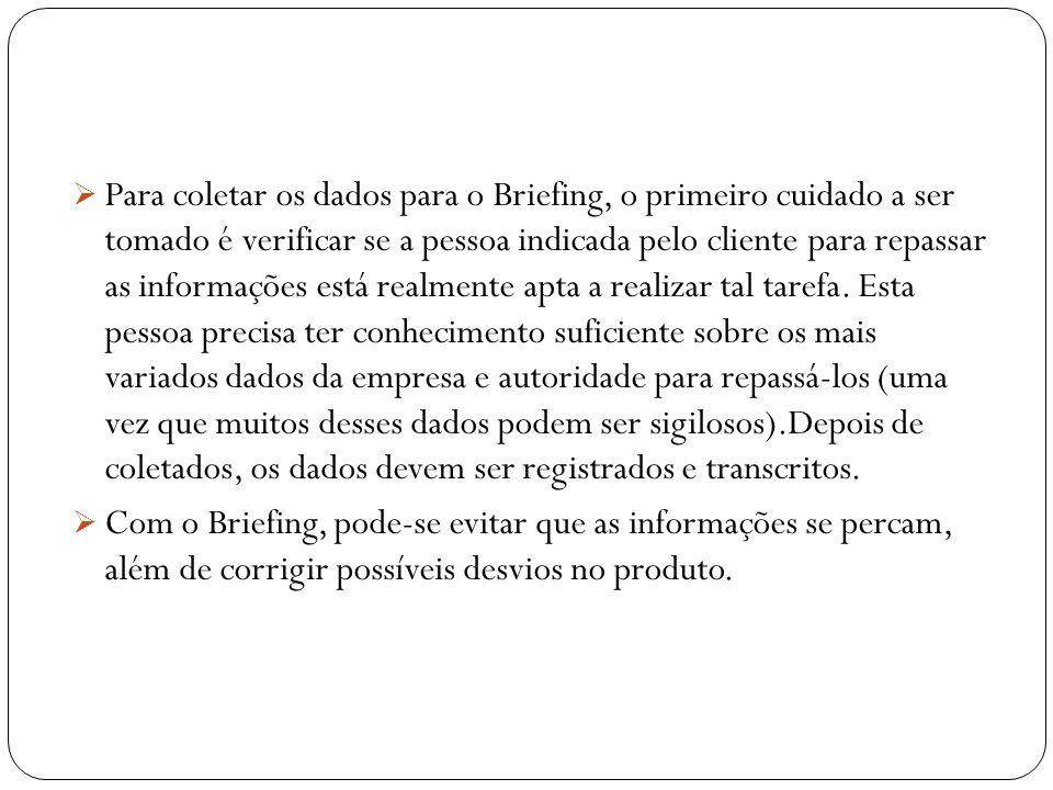Em geral, um Briefing deve conter: Um histórico da sua empresa Público alvo Pesquisas de mercado Concorrência Informações estratégicas Detalhamento da Comunicação Objetivos Orçamento Prazos e Cronograma